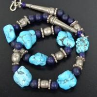 Sehr alte traditionelle indische Silberelemente, Türkise (Amazonite??), und kobaltblaue Glasperlen aus Java
