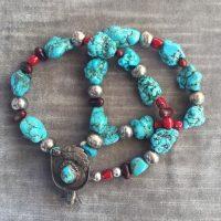 Navajo Anhänger ,Türkise, Korallen und versilberte Teile